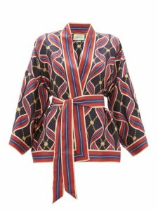 Gucci - Gg Ribbon-print Silk Wrap Top - Womens - Navy Multi