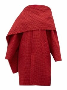 Balenciaga - Draped Neckline Houndstooth Wool Coat - Womens - Red Multi