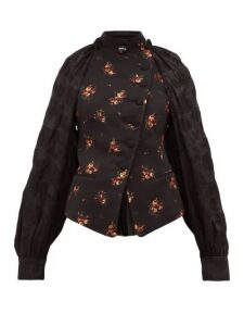 Ann Demeulemeester - Panelled Cotton Blend Floral Jacquard Jacket - Womens - Black Multi