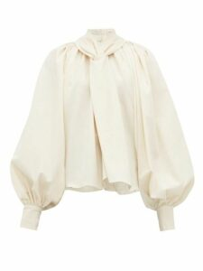 A.w.a.k.e. Mode - Balloon-sleeve Cotton-canvas Blouse - Womens - Cream