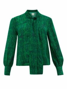 Chufy - Kaf Abstract Print Tie Neck Crepe Blouse - Womens - Green Print