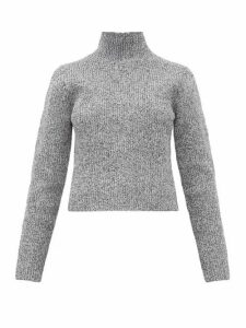 Tibi - Zip-through High-neck Ribbed Sweater - Womens - Grey