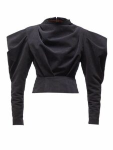 Isabel Marant - Dixon Draped Velvet Top - Womens - Black