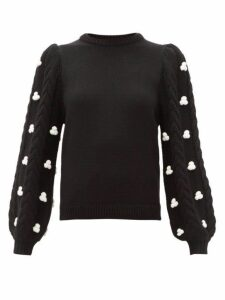 Shrimps - Damon Cable Sleeved Merino Wool Blend Sweater - Womens - Black