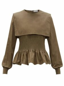 Molly Goddard - Lucy Bib Overlay Cotton Top - Womens - Khaki