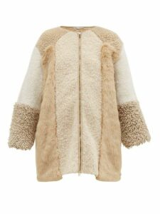 Stella Mccartney - Panelled Faux Fur And Faux Shearling Coat - Womens - Beige Multi