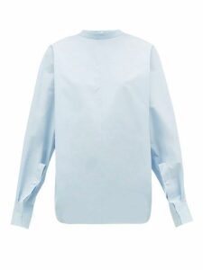 Jil Sander - High Neck Cotton Poplin Top - Womens - Light Blue