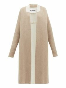 Jil Sander - Two-tone Wool-blend Cardigan - Womens - Light Grey