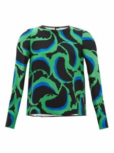 Marni - Abstract-print Crepe Blouse - Womens - Green Multi