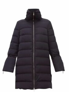 Moncler - Belia Fluted Sleeve Quilted Down Coat - Womens - Navy