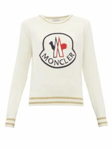 Moncler - Logo Embroidered Wool Blend Sweater - Womens - White Multi