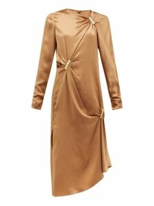 Versace - Draped Safety Pinned Satin Midi Dress - Womens - Brown