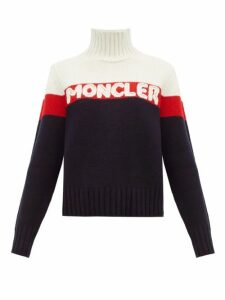 Moncler - Logo-jacquard Striped Wool-blend Sweater - Womens - Cream Multi