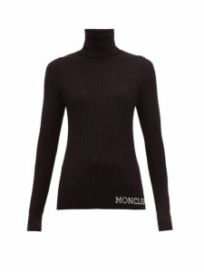Moncler - Logo Ribbed Roll-neck Wool Sweater - Womens - Black