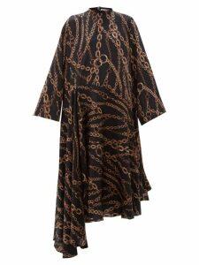 Balenciaga - Chain Print Logo Silk-jacquard Dress - Womens - Black Multi
