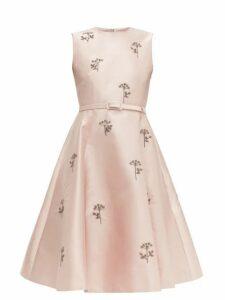 Erdem - Angelica Beaded Mikado Knee-length Dress - Womens - Light Pink