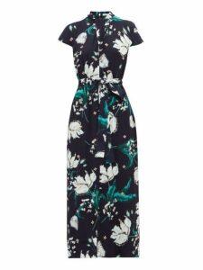 Erdem - Finn Leighton Tulip-print Beaded Crystal Dress - Womens - Navy Multi