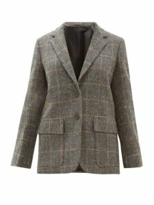 Margaret Howell - Single Breasted Windowpane Check Wool Jacket - Womens - Grey Multi
