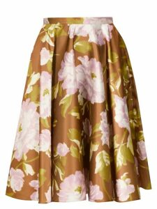 Rochas - Floral-print Satin Skirt - Womens - Green Multi