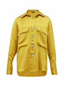 Ann Demeulemeester - Spread Collar Hammered Satin Blouse - Womens - Yellow