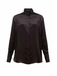 Etro - Hampshire Draped-collar Satin Blouse - Womens - Black