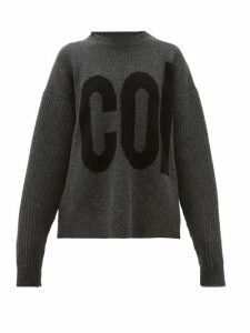 Colville - Logo Intarsia Dropped Sleeve Wool Sweater - Womens - Dark Grey