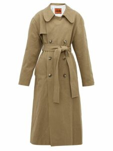 Colville - Oversized Crushed Cotton-gabardine Trench Coat - Womens - Beige