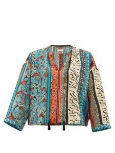 Chufy - Alqamar Calligraphy-print Satin-crepe Blouse - Womens - Blue Multi