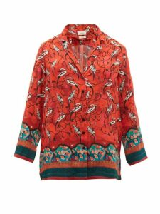 Chufy - Najima Peacock-print Satin-crepe Blouse - Womens - Red Multi