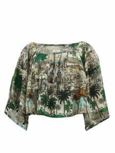 Chufy - Jamal Landscape-print Crepe Blouse - Womens - White Multi