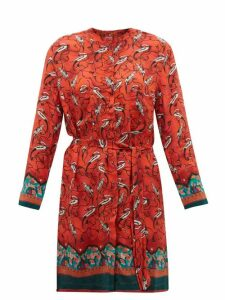 Chufy - Najima Peacock Print Satin Crepe Shirtdress - Womens - Red Multi