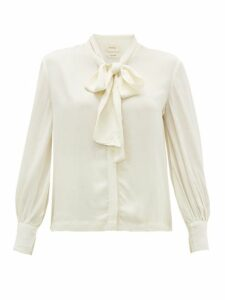 Chufy - Palm Pussybow Crepe Blouse - Womens - White