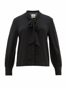 Chufy - Palm Pussy-bow Crepe Blouse - Womens - Black