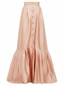 Luisa Beccaria - Pleated-hem Buttoned Satin Skirt - Womens - Light Pink