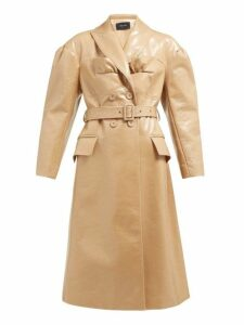 Simone Rocha - Double-breasted Laminated Wool-blend Coat - Womens - Camel