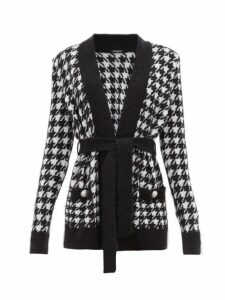 Balmain - Belted Long-line Houndstooth Cardigan - Womens - Black White