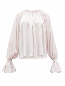 Roksanda - Pia Fluted-cuff Silk Blouse - Womens - Light Pink