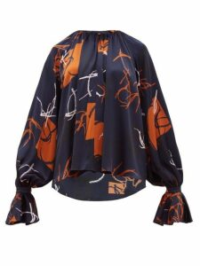 Roksanda - Pia Abstract-print Silk-satin Blouse - Womens - Navy Multi
