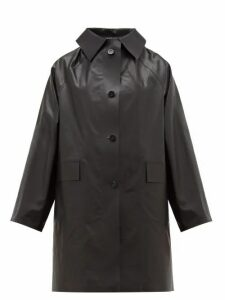 Kassl Editions - Single Breasted Coated Cotton Blend Coat - Womens - Black