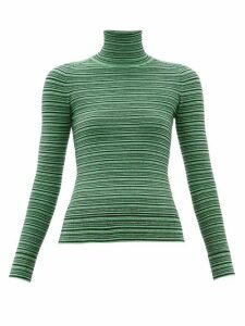 Joostricot - Striped Roll-neck Cotton-blend Sweater - Womens - Green Multi