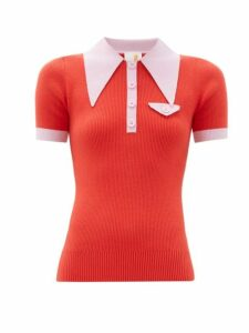 Joostricot - Exaggerated Point Collar Cotton Blend Polo Shirt - Womens - Red