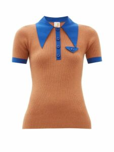 Joostricot - Oversized Collar Cotton Blend Polo Shirt - Womens - Brown