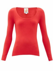 Joostricot - Peachskin Scoop-neck Cotton-blend Sweater - Womens - Red