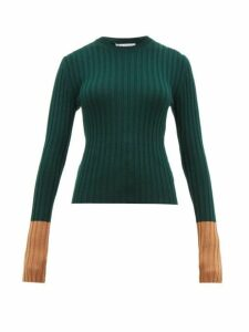 Jw Anderson - Contrast Cuffs Wool Sweater - Womens - Green