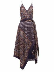 Jonathan Simkhai - Geometric-print Satin-twill Wrap Dress - Womens - Navy Multi