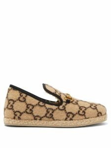 Gucci - Fria Horsebit Gg-print Felt Loafers - Womens - Beige