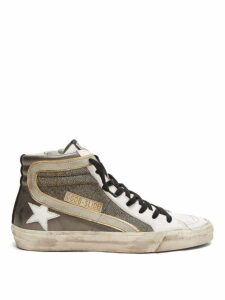 Golden Goose - Slide Metallic Leather Trainers - Womens - White Silver