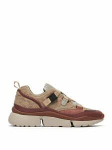 Chloé - Sonnie Raised-sole Felt And Leather Trainers - Womens - Grey Multi