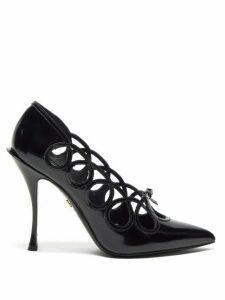 Dolce & Gabbana - Lori Bow Appliquéd Cut Out Leather Pumps - Womens - Black
