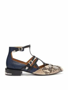 Toga - Studded Suede And Leather Flats - Womens - White Multi